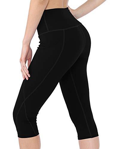 Rocorose Women's Sports Leggings Power Flex High Waisted Phone Pockets Yoga Pants Black M ()