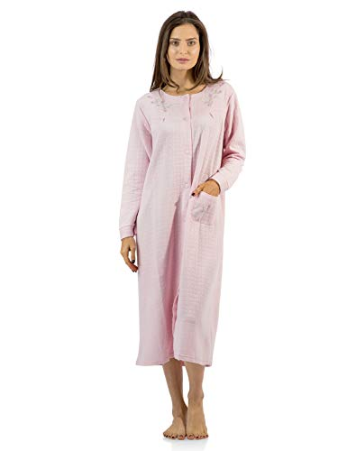 Casual Nights Women's Long Quilted Robe House Dress - Pink - Medium