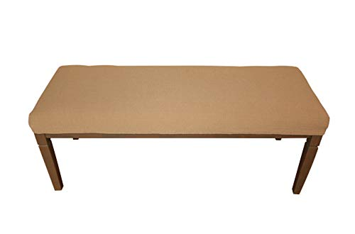 48 Bench Bench - Waterproof Dining Bench Cover Protector - Perfect for Kids, Elderly, Restaurant,Clinics, Home - Machine Washable, Stretchy, Snugly Fit, Premium Quality, Clean The Mess Easily (49x17, Medium Brown)