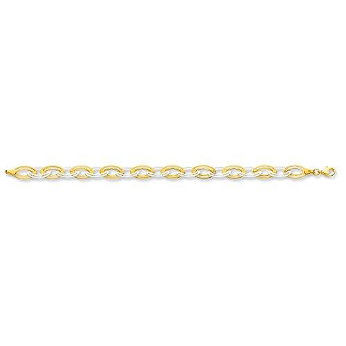 9ct 2Couleur Blanc et Jaune doré Fancy ovale Maillon Bracelet 4.0G