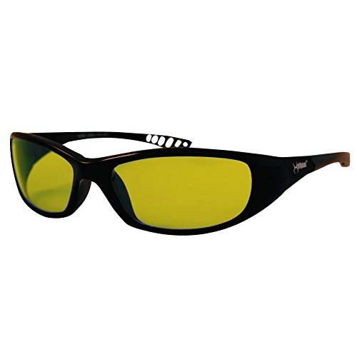 Jackson Safety 20541 V40 HellRaiser Safety Glasses, Black Frame, Amber - Eye V40 Contour Protection Kleenguard