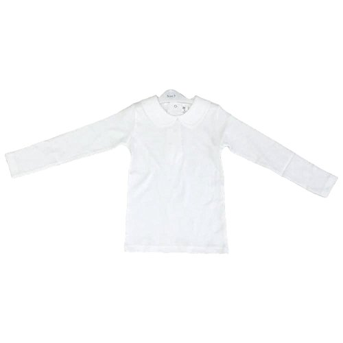 CARLINO Peter Pan Collar Long Sleeve T-Shirt (3, White) (Carlino Short)