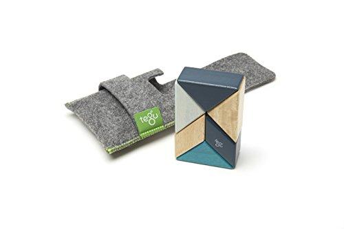 - 6 Piece Tegu Pocket Pouch Prism Magnetic Wooden Block Set, Blues