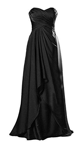 abito classico formale da Angeldragon spalline sera lungo senza in raso Black pieghe 8xqH6d