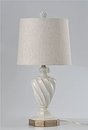 Stylecraft 24 Old White Distressed Table Lamp With Shade Amazon Com
