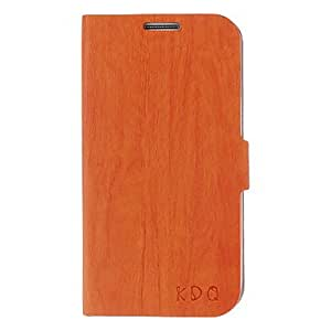PEACH Wood Grain Pu Leather Case with Buckle for Samsung Galaxy S4 I9500 (Assorted Colors) , Black