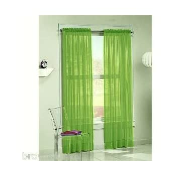 2 Piece Set 95 Long Solid Sheer Curtains Panels Window Treatment Bright Green