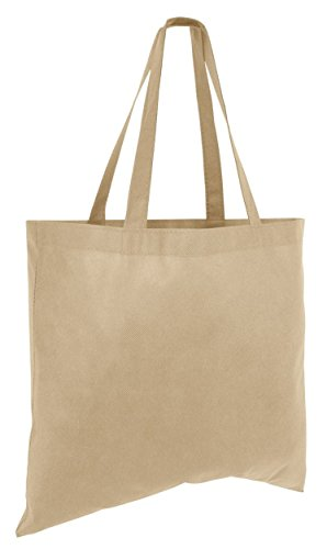 25 Pack - Budget Friendly Large Totes Lightweight Non Woven Cheap Wholesale Bulk Gift Tote Bags For Crafting Giveaway Candy Toys Beach Grocery Events Shopping and More! (Khaki) ()