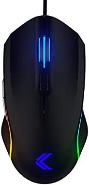 KINESIS Gaming Vektor RGB Mouse - Wired Adjustable to 5000 DPI - 6 Programmable Buttons - Dual-Zone RGB Lighti