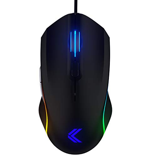 (KINESIS Gaming Vektor RGB Mouse - Wired Adjustable to 5000 DPI - 6 Programmable Buttons - Dual-Zone RGB Lighting - Contoured Shape and Rubber Side Grips )