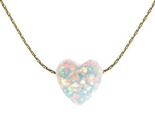 Opal Pendant Jewelry - White Opal Heart Necklace Charm 14k Gold Filled cable-wire ,Length 16