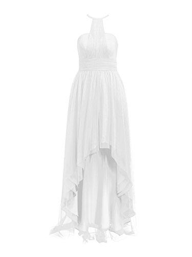 Alicepub Robe De Célébrité Salut-lo Partie Tulle Licol Robe De Bal Du Soir De Maxi Féminin Blanc