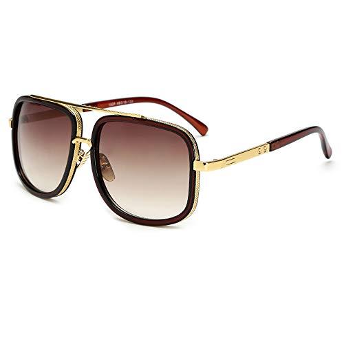 Oversized Square Sunglasses for Men Women Aviator Shades Brown Frame Retro Brand - Sunglasses Mens Oversized