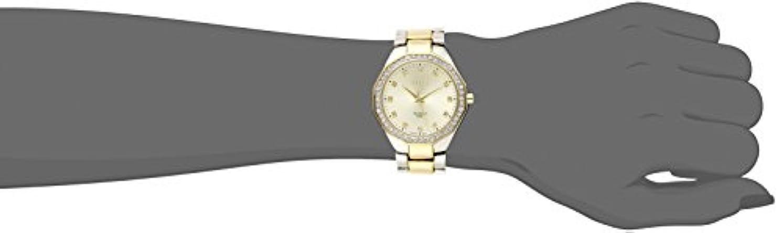 August Steiner Women s AS8044TTG Diamond Crystal Accented Swiss Quartz Two Tone Bracelet Watch
