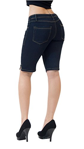 Women's Stretchy Denim Bermuda Short B22880 Indigo - Womens Shorts Comfortable
