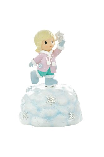 Precious Moments Resin Rotating Musical Figurine, Girl Holding Snowflake