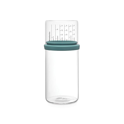 Stackable Glass (Brabantia Glass Storage Jar with Measuring Cup, 1L, Mint, 10.4 x 10.4 x 23 cm)
