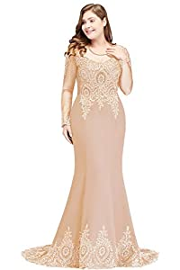 MisShow 2019 Plus Size Long Sleeve Mermaid Prom Evening Dresses Formal for Women