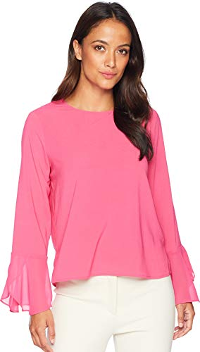 Cuff Flutter (Vince Camuto Specialty Size Womens Petite Chiffon Flutter Cuff Satin Back Texture Blouse Pink Flame PL)