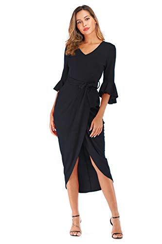 MIUSWN Midi Dress for Women Plain 3/4 Sleeve Wrap Bodycon Pencil Dress Black