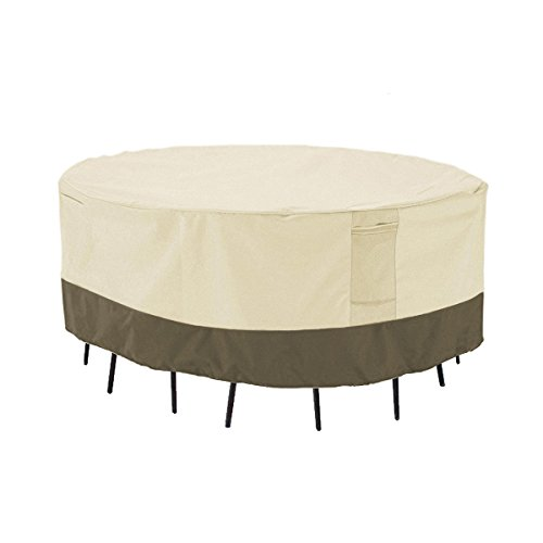 (PHI VILLA Patio Round Table & Chair Set Cover, Durable Water Resistant Outdoor Furniture Cover with Pop-up Supporter, Large)