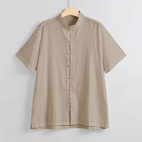 Lin Taille Polo Chemises Kaki Grande Lâche Homme shirt Casual Marque En Haut Pas Shirt Tee Coton 8 Top Unie Style 2 Chemise Blouse Cher Couleur Winjin T xPtPwY
