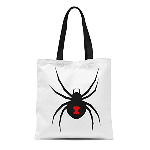 Semtomn Cotton Canvas Tote Bag Black Widow Spider Red Marking Flat for Apps Reusable Shoulder Grocery Shopping Bags Handbag -