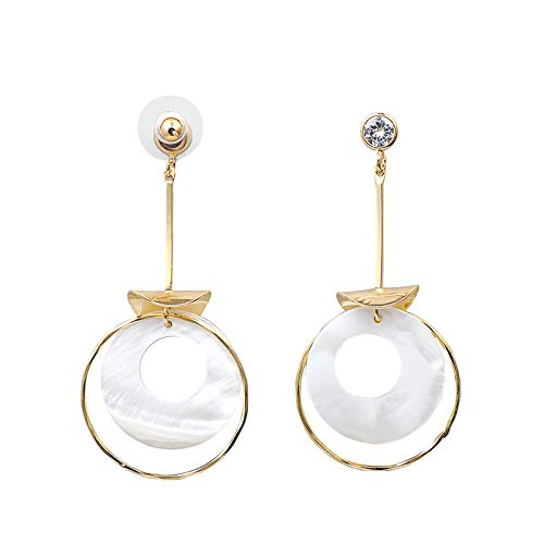 Women Zircon Earring Plated in 14K Gold & 925 Silver Needle Multi-Circle Women's Dangle Earrings ()