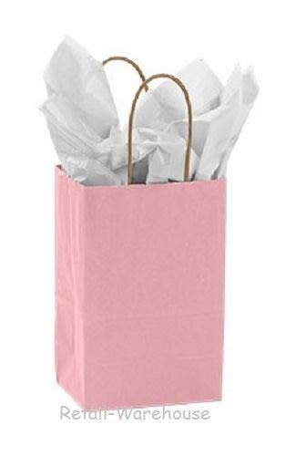 Paper Shopping Bags 100 Light Pink Retail Merchandise (Rose) 5 ¼