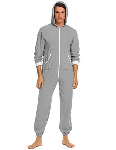 Cheap Jumpsuits For Men (Ekouaer Mens Hooded Pajamas Set Onesie Jumpsuit Adult One Piece Pajamas Sleepwear (Grey, M))