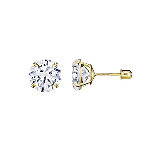 Earrings Solid 14kt (14kt Solid Yellow Gold Superbright Clear Cz Basket Setting Round Screwback Stud Earrings (3mm))