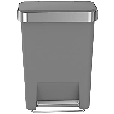 simplehuman Rectangular Step Can with Liner Pocket, 45 L/11.9 gallon (Grey Plastic)