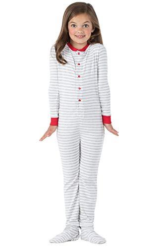 - PajamaGram Gray Stripe Dropseat Girls Pajamas 14