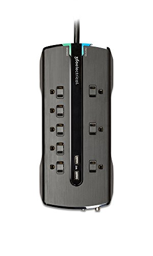 360 Electrical 360330 Director2.4 Surge Protector with 8 Outlets 2.4 Amp/12W USB Charging and Coax