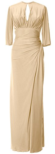 MACloth Gown Sleeve Champagner Women of Formal Evening Long Jersey Mother Dress Half Bride raaWEwqPd
