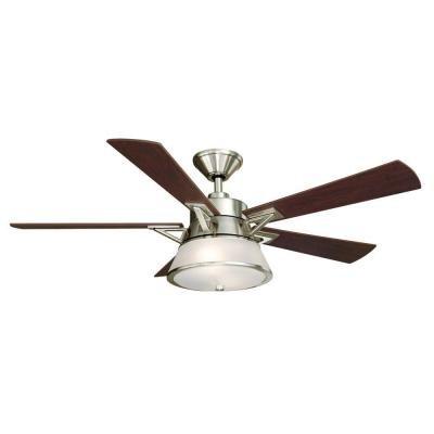 Hampton Bay Marlowe 52 in. Brushed Nickel Ceiling Fan For Sale