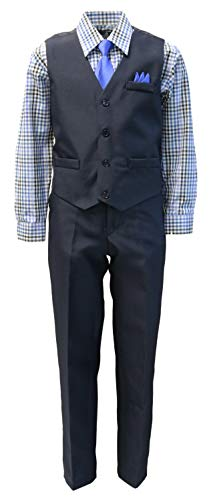 Vittorino Boys 4 Piece Holiday Suit Set with Vest Shirt Tie Pants and Hankerchief, Navy/Blue/Plaid, 3T ()