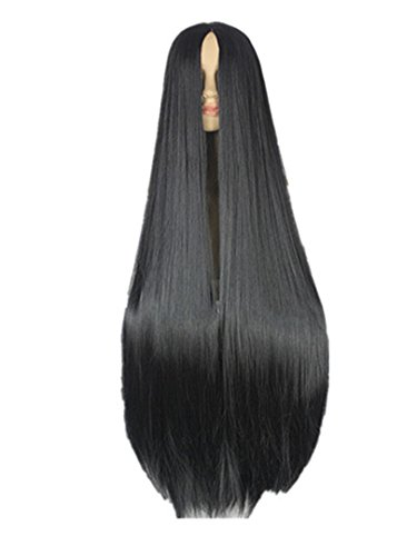 Black Wig 100CM/40 Inches Synthetic Heat Resistant Fiber Long Halloween Carnival Costume Cos-Play Straight Hair Bug -