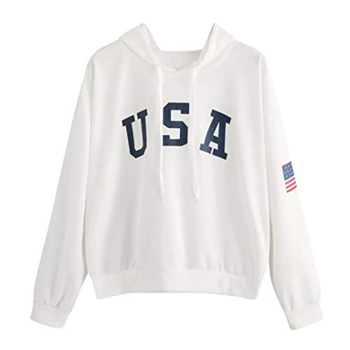 DongDong ♥ 2018 Women's Hoodie Sweatshirt, Letter USA Flag Printed Long Sleeve (Matchmakers Printed)