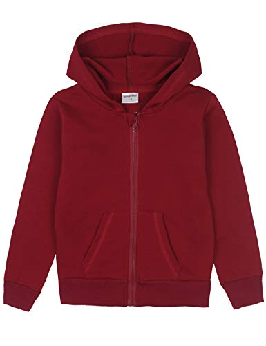 Spring&Gege Youth Solid Full Zipper Hoodies Soft Kids Hooded Sweatshirt for Boys and Girls Size 3-4 Years Maroon