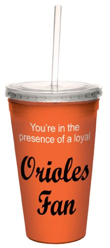 Tree-Free Greetings cc34079 Orioles Baseball Fan Artful Traveler Double-Walled Cool Cup with Reusable Straw, 16-Ounce