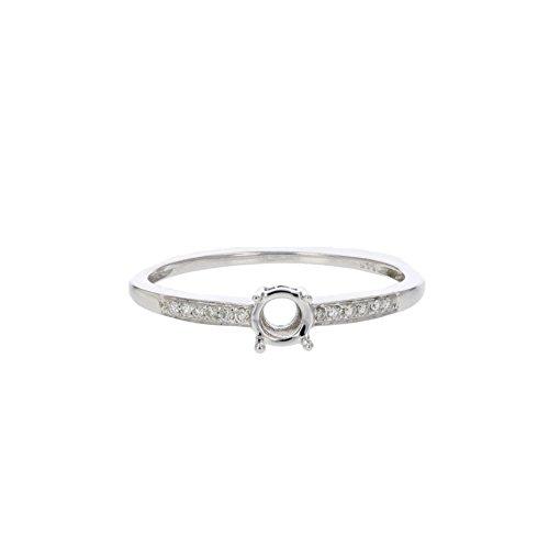 14k Gold Diamond Semi Mount (1/20 CT Diamond Semi Mount Engagement Ring In 14K White Gold In Size 7)