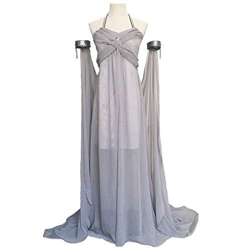 (Xfang Women's Chiffon Dress Halloween Cosplay Costume Grey Long Train Dress)