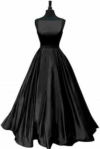 999aea29dd6e HellodayZ Women's A-line Satin Beaded Prom Dresses Long Formal Evening Dress  with Pockets Bridesmaid