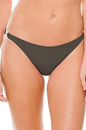 Miss Mandalay Women's Boudoir Beach Ring Side Hipster Bikini Bottom Cedar M (Hipster Ring Side Bottoms)