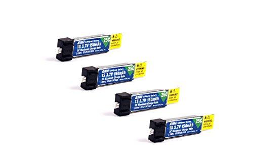 Pack of 4 E-Flite 150mah 1s 3.7v 25c Lipo Battery e flite (4Pcs)