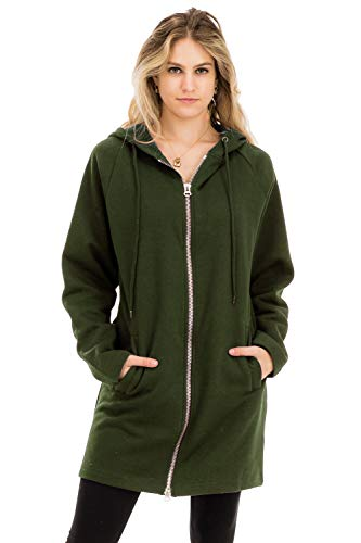 (NANAVA Casual Two Way Metal Zippers Hoodie Sweat Jacket Army Green L/XL)