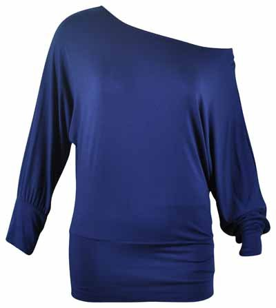 Purple Hanger - Damen Übergröße Schulterfreies Top Dehnbar Einfarbig Lange Fledermausärmel - EU 42, Marineblau