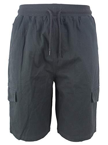 (Evrimas Men's Cargo Shorts Elastic Waist Drawstring Cotton Loose Fit Casual Lightweight Outdoor Multi Pocket Twill Pants Black)