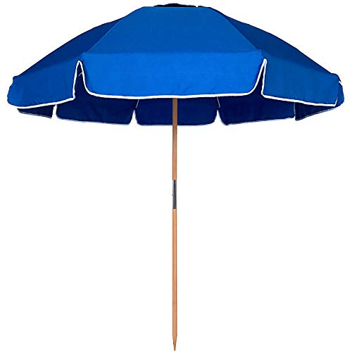 AMMSUN 7.5ft Fiberglass Ribs Commercial Grade Patio Beach Umbrella with Air- Vent Ash Wood Pole & Carry Bag Blue